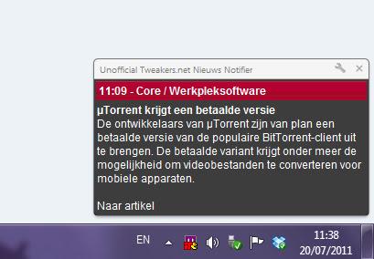 Unofficial Tweakers.net Nieuws Notifier
