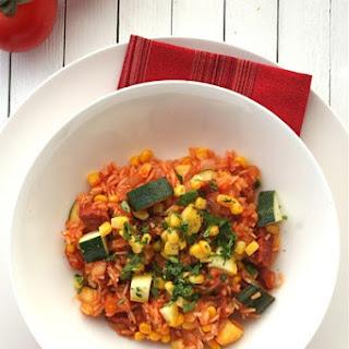 Mexican Rice Supper with Chorizo, Zucchini and Corn