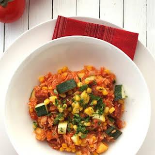 Mexican Rice Supper with Chorizo, Zucchini and Corn.