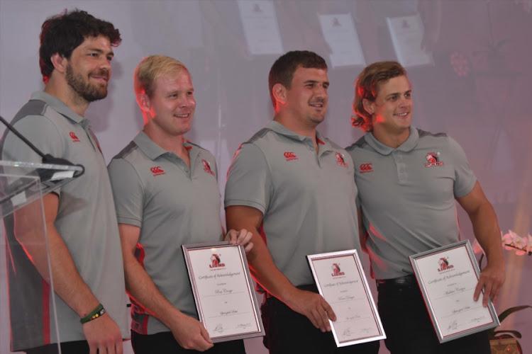 Warren Whiteley, Ross Cronje, Ruan Dreyer, Andries Coetzee of the Lions during the Annual Lions Awards Function at Emirates Airline Park on February 03, 2018 in Johannesburg, South Africa.