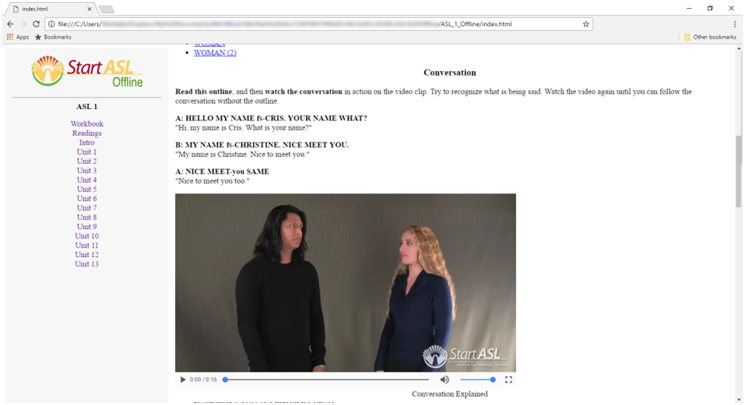 Start ASL Offline Webpage Course