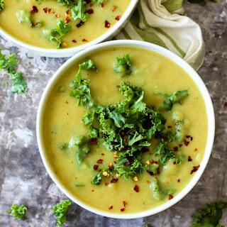 Cheesy Vegan Potato Kale Soup