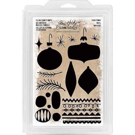 Tim Holtz Idea-Ology Cling Foam Stamps 24/Pkg - Christmas Ornaments UTGÅENDE