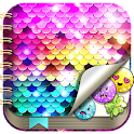 Sequin Diary with Lock icon