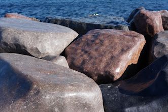Photo: A short section of the breakwater has polished rocks for no apparent reason.