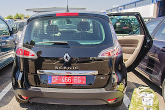 Photo: Our leased Scenic with the French plates.  It was a nice car - leather seats, sun roof, moon roof, diesel, GPS and automatic.