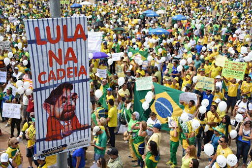 Opponents of the Brazilian government take part in a protest demanding the resignation of President Dilma Rousseff on March 13, 2016 at the Esplanada dos Ministerios in Brasilia. Picture:AFP/EVARISTO SA
