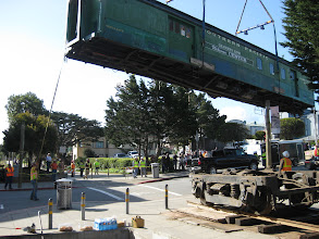 Photo: 73,000 pounds of railcar as it's lifted over the intersection of Hoffman Avenue & the Rec Trail, Monterey.