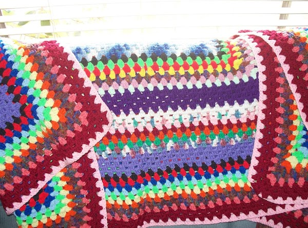 Crochet blanket made from using a Granny stitch , 3 double crochet stitches in...