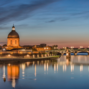 Toulouse by Night by Stuart Wilson - City,  Street & Park  Night ( church, night photography, long exposure, night, france, bridge, cityscape, river, nightscape )