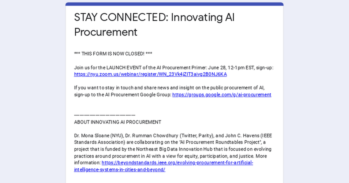 Interest Form: Evolving Procurement for Artificial Intelligence Systems