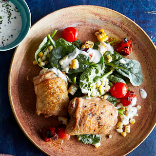 Chicken With Blistered Corn and Tomato Salad