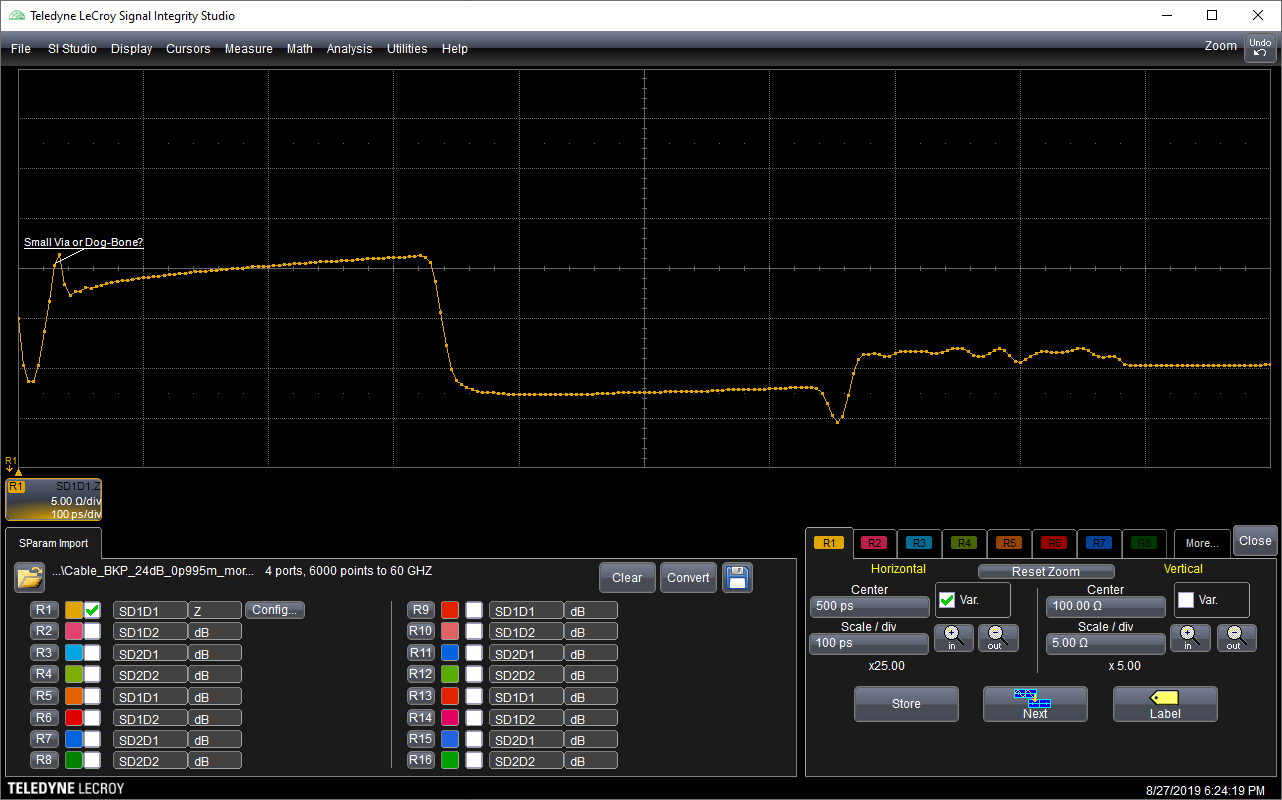 Teledyne LeCroy Signal Integrity Studio interface with Intel's backplane loaded, showing an impedance dip where the dog-bone connection is present