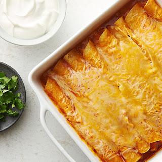 Easy Microwave Chicken Enchiladas.