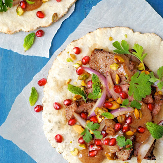 Grilled Lamb Shawarma with Pomegranate and Pistachios