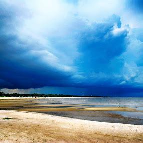 Ominous Skies  by Jennifer Eaton Roberts - Landscapes Cloud Formations ( biloxi, dark skies, beach, storm, mississippi )