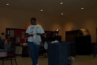 Photo: Cynthia singing Cleanin' Women.