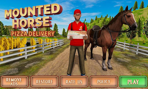 Mounted Horse Riding Pizza Guy: Food Delivery Game android2mod screenshots 5
