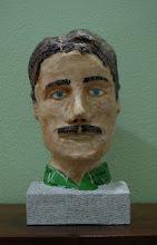 "Photo: Tesla Bust, 7 x 14.5 x 7"", paper mache"