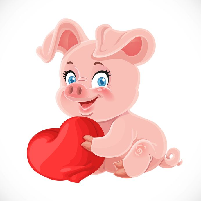 Cute cartoon happy baby pig hugging a soft red pillow heart