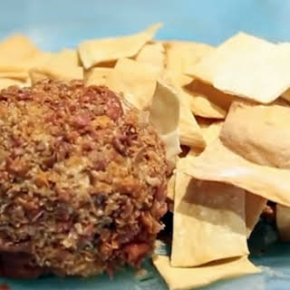 Date, Pecan and Bacon Cheese Ball with Curried Peach Preserves.