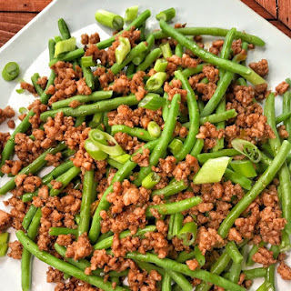 Green Beans with Crispy Crumbled Char Siu Pork.