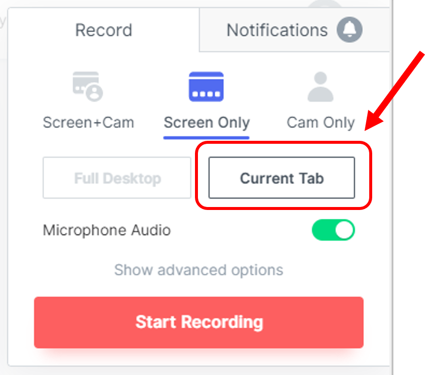Click on current tab to minimise distraction when recording HeyHi's online whiteboard in browser