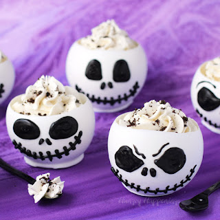 Jack Skellington Chocolate Bowls with Cookies 'n Cream Cheesecake Mousse