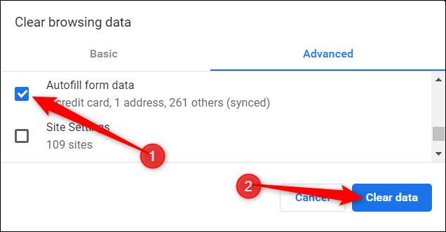 Google Chrome Clear Autofill form data