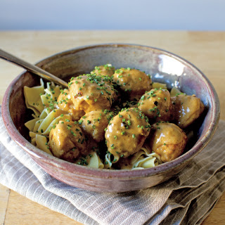 Meatballs Marsala with Egg Noodles and Chives Recipe