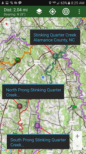 Stream Map USA - Southeast Aplikacije za Android screenshot