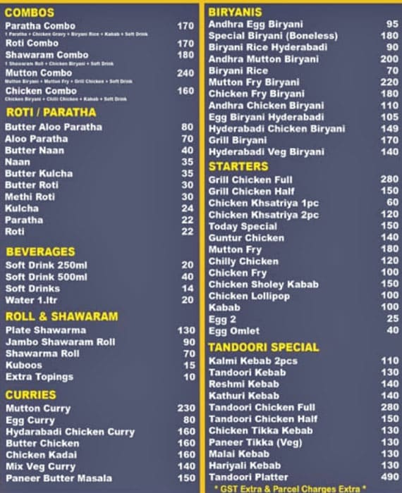 Grill Biryanis menu 1