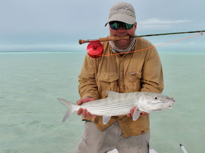 Photo: Andy Jensen at the Andros Island bonefish club- February 2010