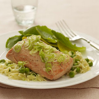 Broiled Salmon With Orzo.