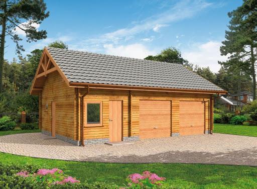 projekt G84 garaż dwustanowiskowy z bali drewnianych