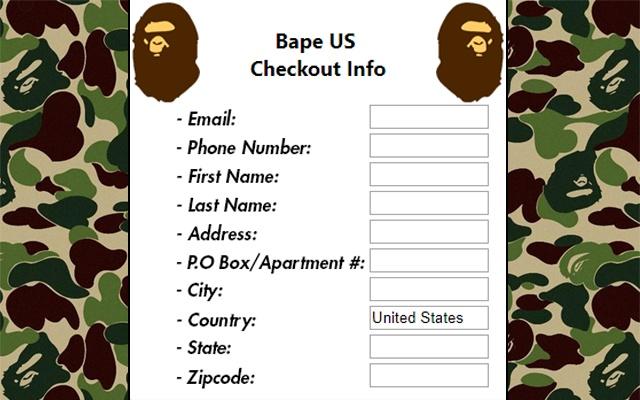Bape US Checkout Autofiller