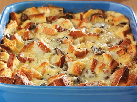 Cheesy Mushroom Bread Pudding Casserole Recipe