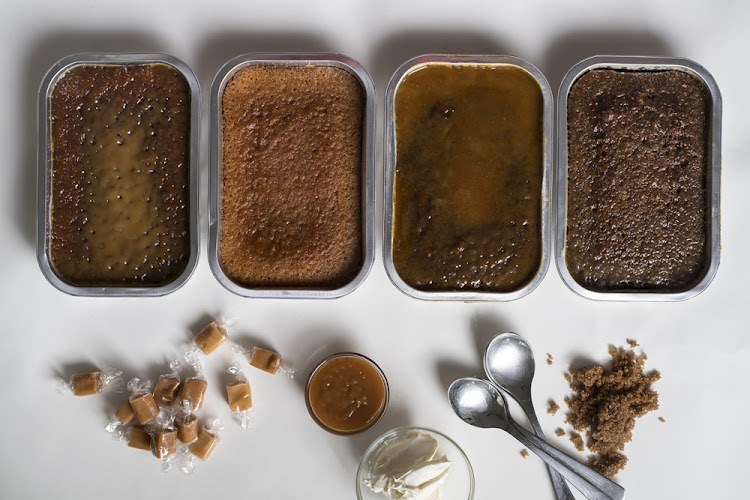 From left: sticky toffee puddings from Checkers, Spar, Woolworths and Pick n Pay.