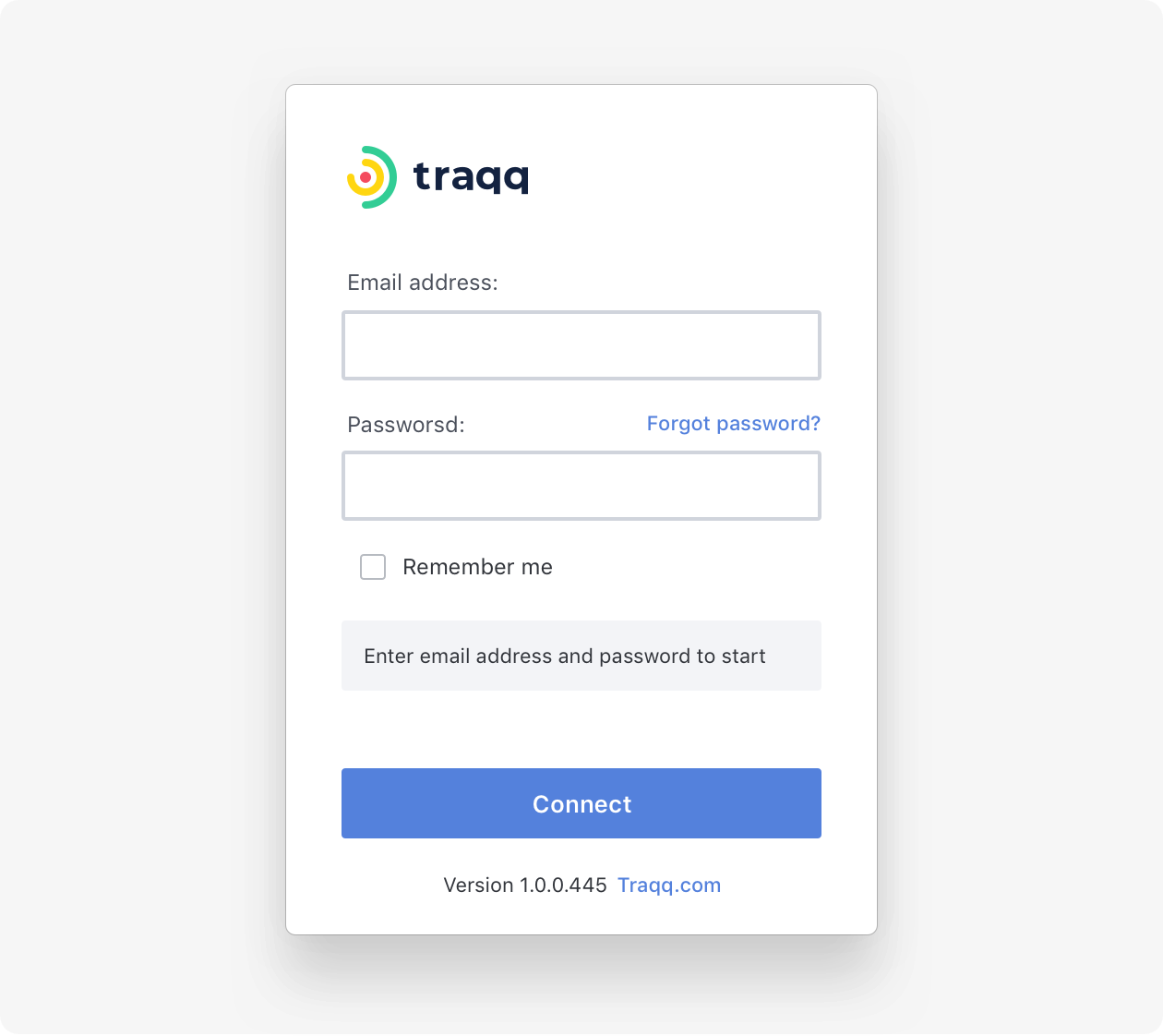 Traqq will offer you to sign in