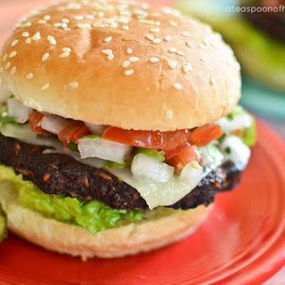 Black Bean Chipotle Burgers topped with Pepperjack & Pico de Gallo