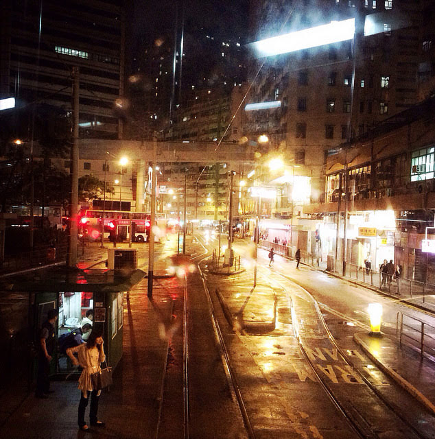Hong Kong, Tram, Rainy Night,  雨夜,  香港, 電車