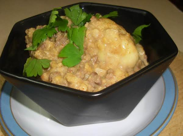 Cauliflower, Lentil And Beef Madras Curry