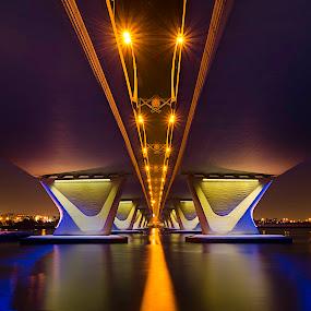 Garhoud by RJ Ramoneda - Buildings & Architecture Bridges & Suspended Structures ( lights, pure, buildings, bridge, river )