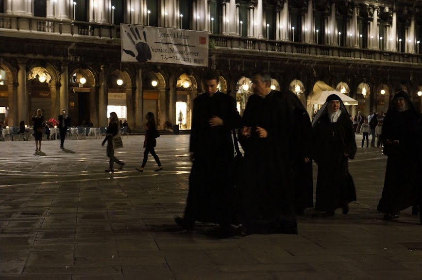 A nightly stroll for the monks and nuns in Venice, Italy (2015)