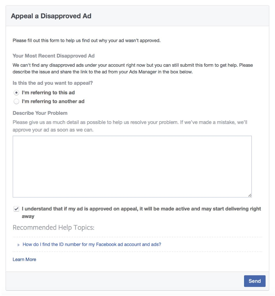 facebook ad not approved facebook ad appeal leadpages