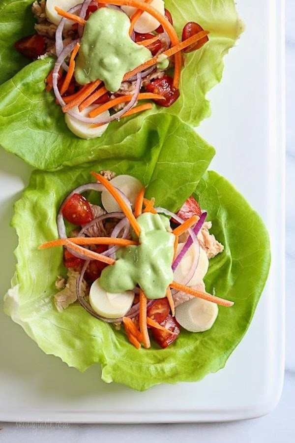 Tuna Lettuce Wrap With Avocado Yogurt Dressing Recipe