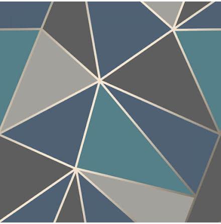 Apex geometrisk tapet FD42001 - Mörkblå/aqua