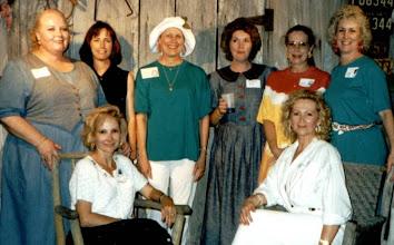 Photo: The reunionettes at the 1995 reunion (front) Nancy (Seiler) McCarthy, Suzy (Wright) Thomas, (back) Rosemary (Worthy) Dooley, Linda (Wilson) Mitchell, Carol (Craven) Barnes, Michele (Baldree) Bibb, Carolyn (McGill) Hoelscher, Pam (Acree) Brown