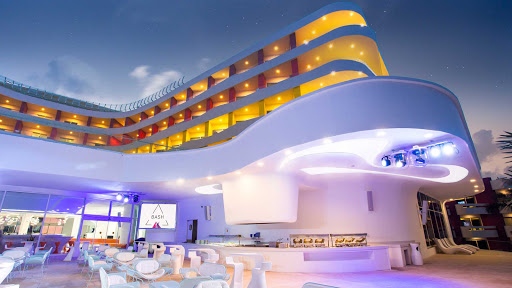 The Bash bar is the center of the action when the theme entertainment starts at night at Temptation Cancun Resort.