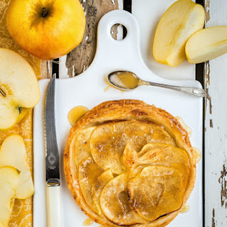Apple And Marzipan Tart With Salted Caramel.